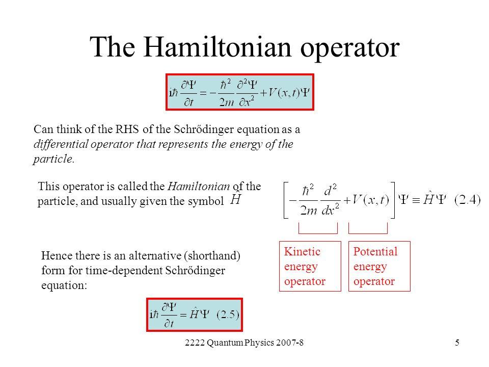 The Hamiltonian operator