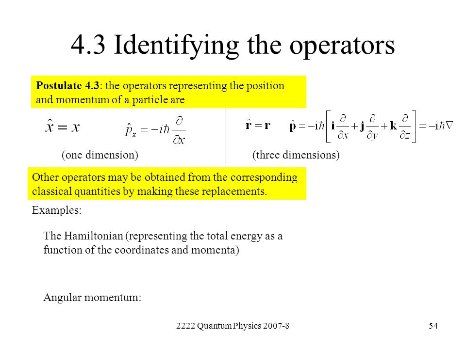 4.3 Identifying the operators