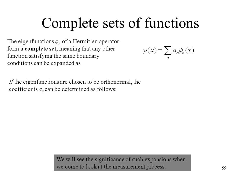 Complete sets of functions
