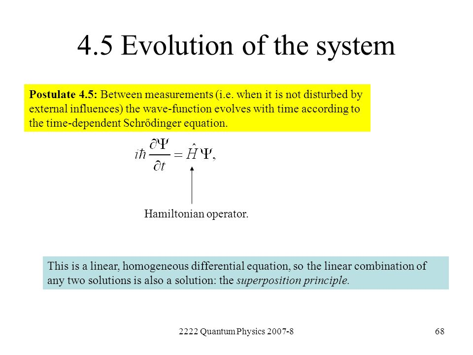 4.5 Evolution of the system