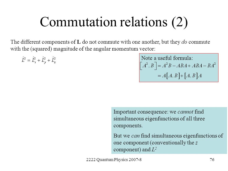 Commutation relations (2)
