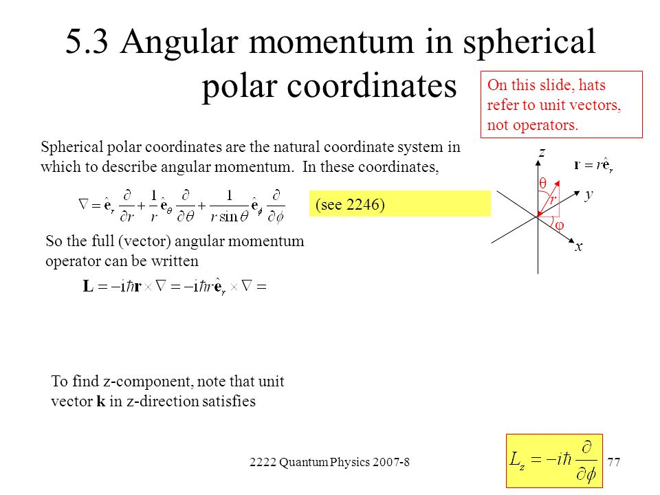 5.3 Angular momentum in spherical polar coordinates