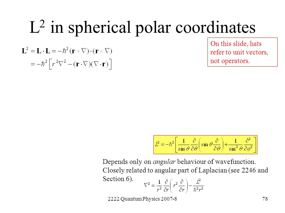 L2 in spherical polar coordinates