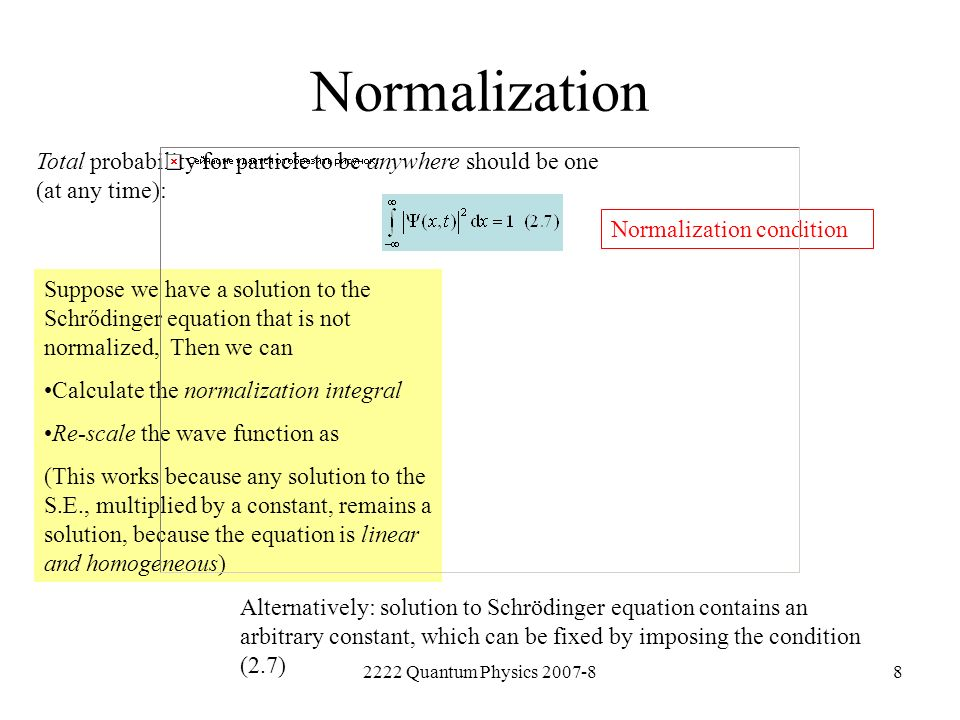 NormalizationTotal probability for particle to be anywhere should be one (at any time): Normalization condition.