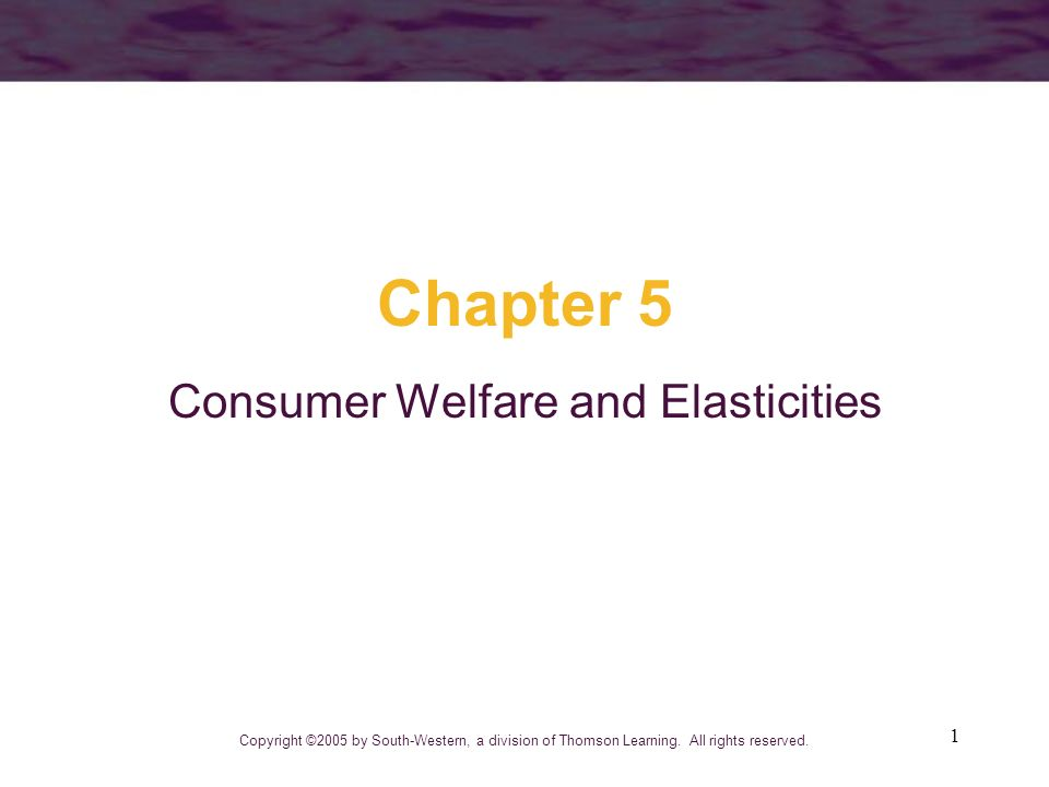 Consumer Welfare and Elasticities