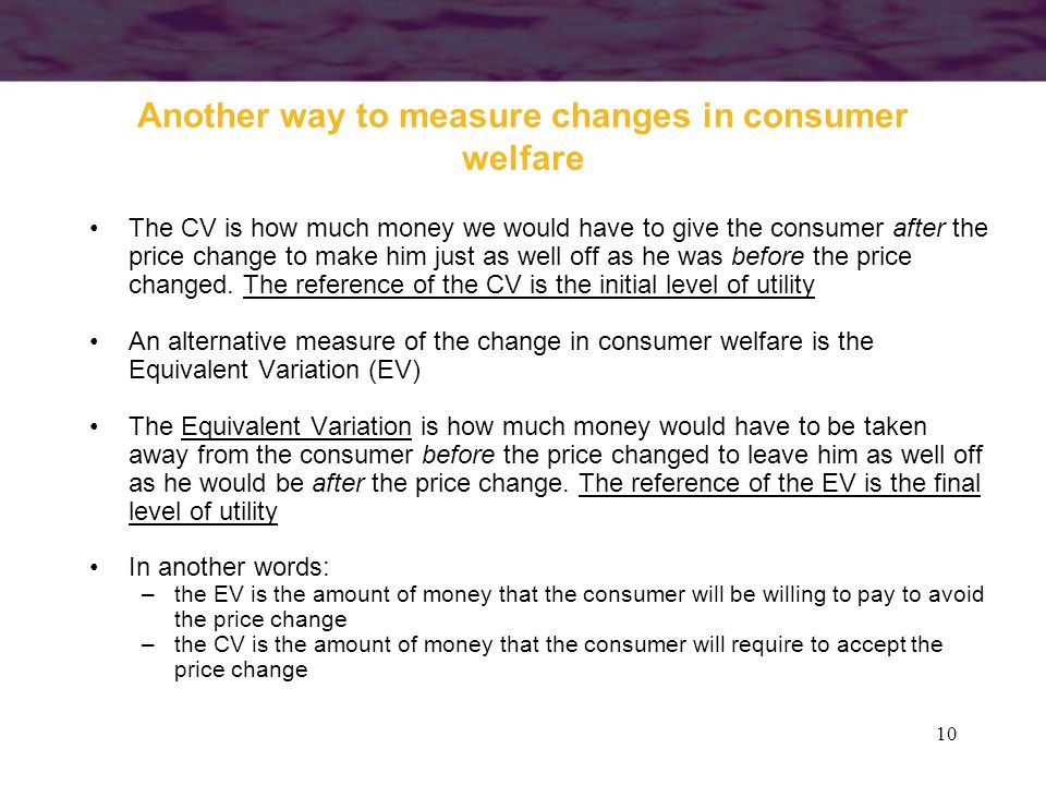 Another way to measure changes in consumer welfare