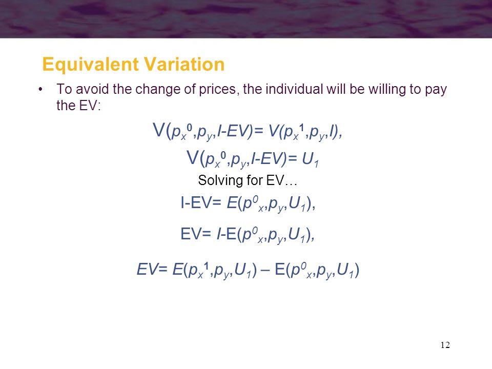 V(px0,py,I-EV)= V(px1,py,I),