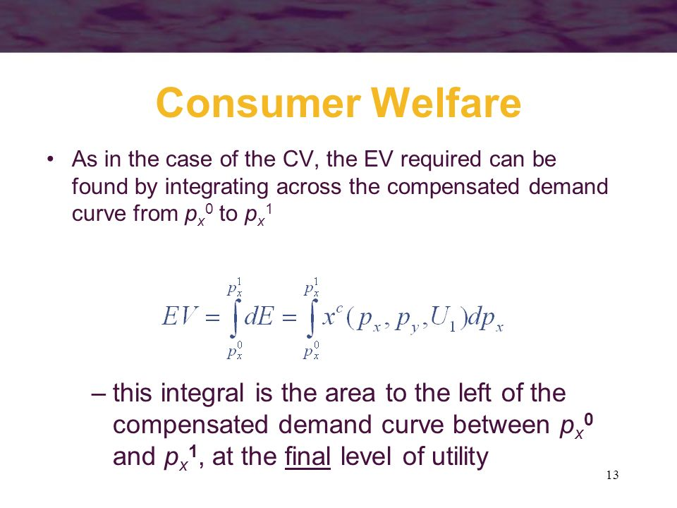 Consumer Welfare As in the case of the CV, the EV required can be found by integrating across the compensated demand curve from px0 to px1.