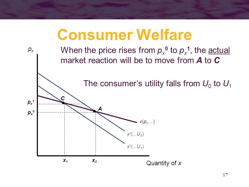 Consumer Welfare px. When the price rises from px0 to px1, the actual market reaction will be to move from A to C.