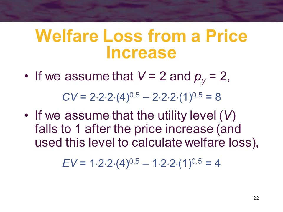 Welfare Loss from a Price Increase