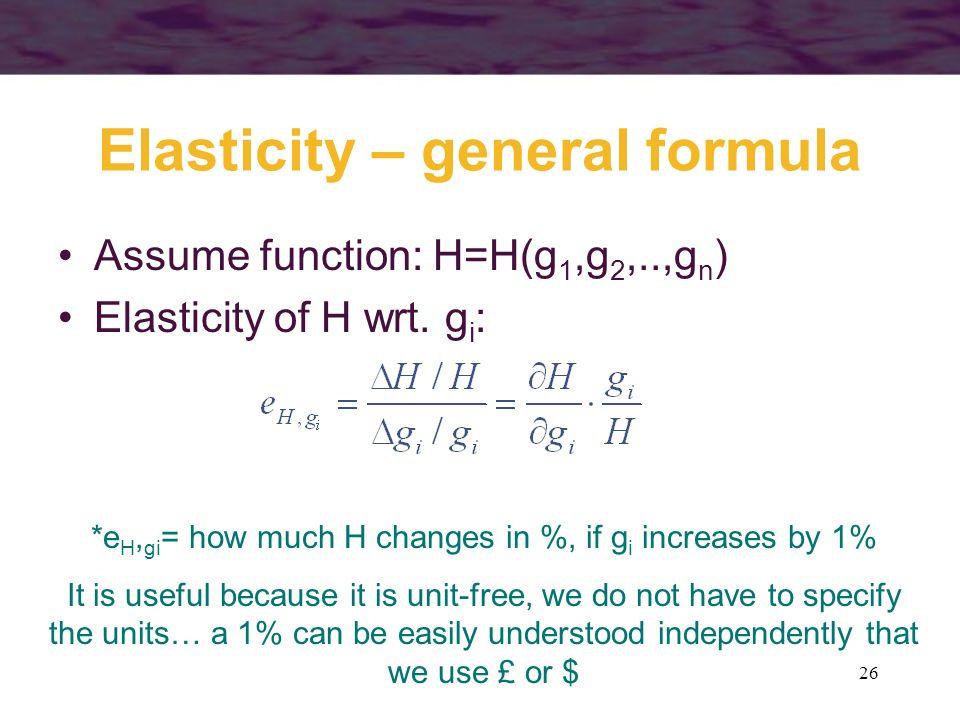 Elasticity – general formula
