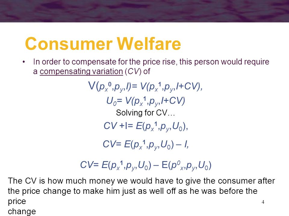 Consumer Welfare In order to compensate for the price rise, this person would require a compensating variation (CV) of.