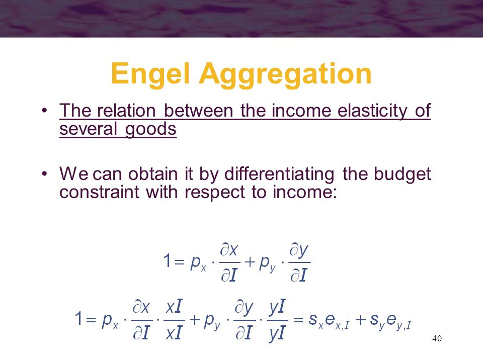 Engel Aggregation The relation between the income elasticity of several goods.