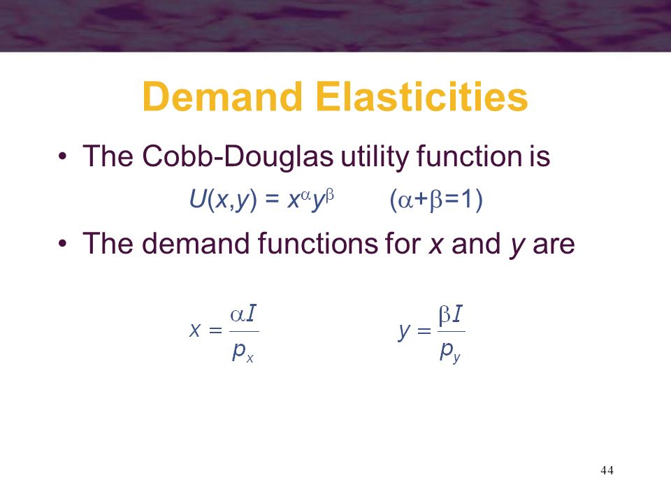 Demand Elasticities The Cobb-Douglas utility function is