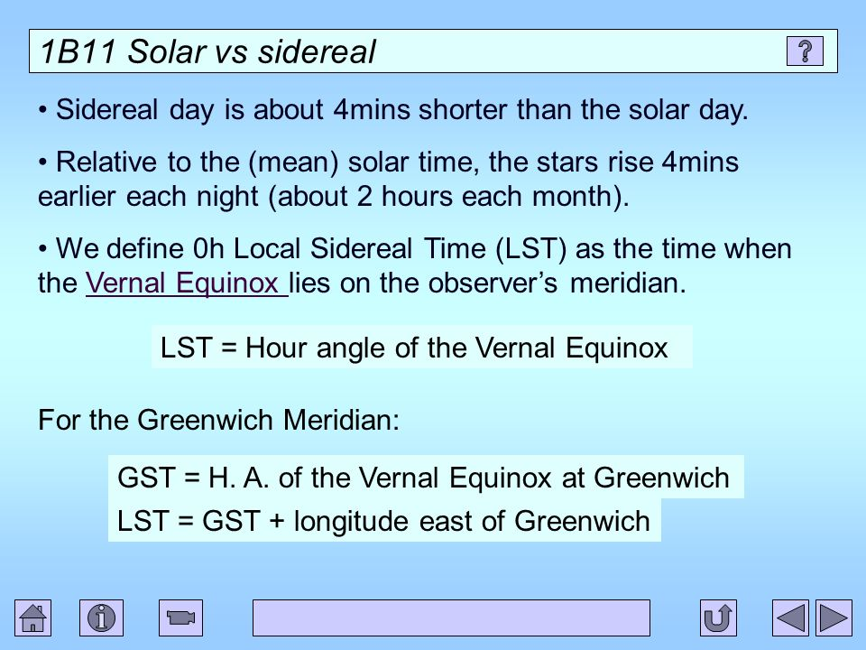 1B11 Solar vs sidereal Sidereal day is about 4mins shorter than the solar day.