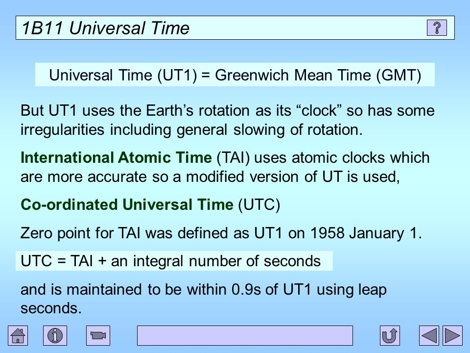 Universal Time (UT1) = Greenwich Mean Time (GMT)