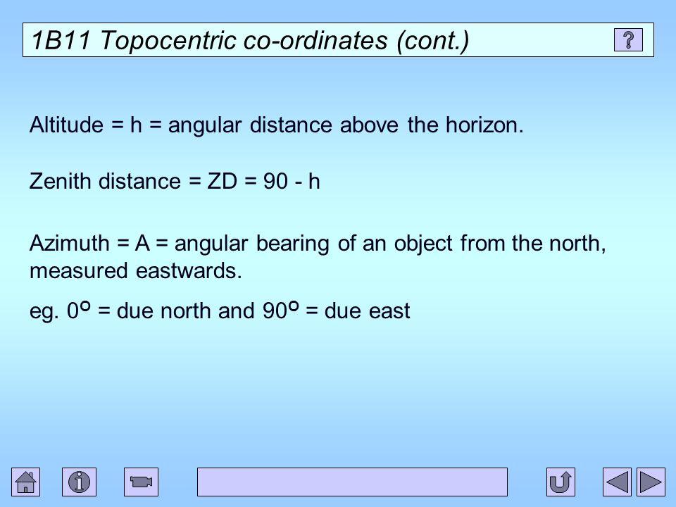 1B11 Topocentric co-ordinates (cont.)
