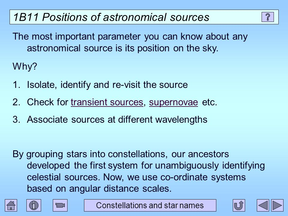 1B11 Positions of astronomical sources