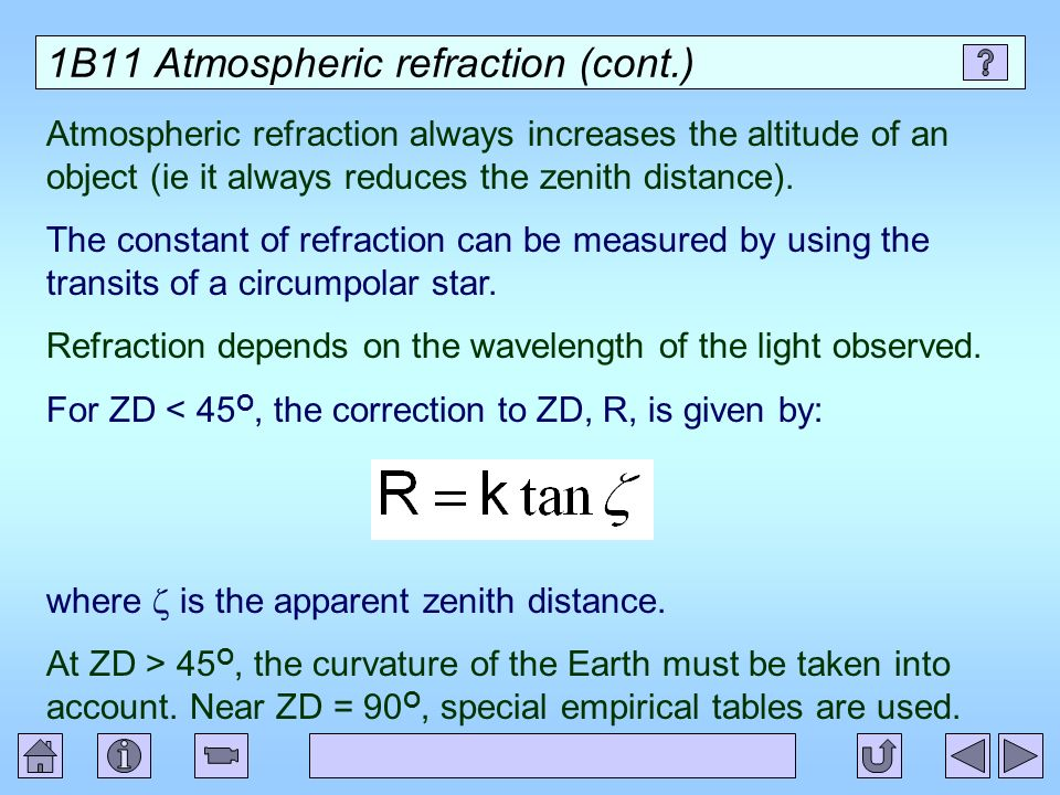 1B11 Atmospheric refraction (cont.)