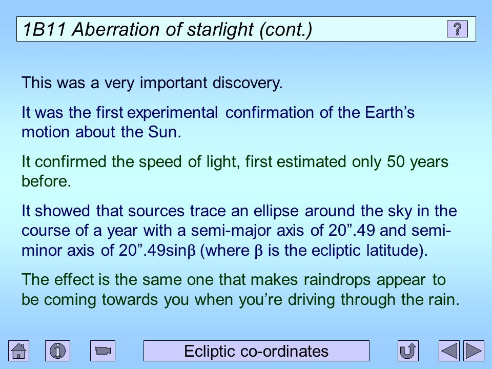 1B11 Aberration of starlight (cont.)