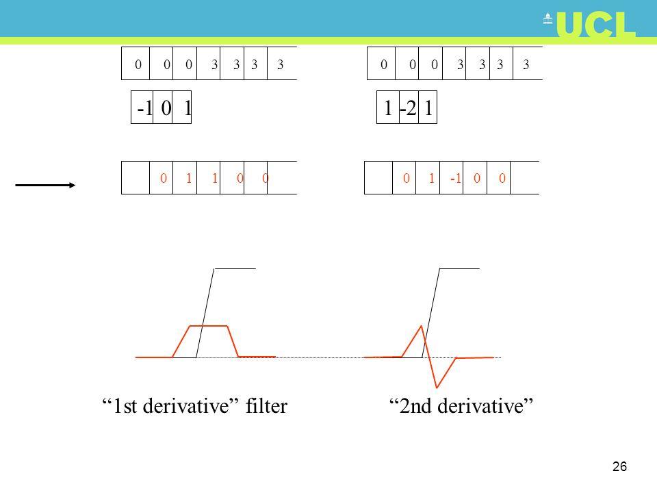 1st derivative filter 2nd derivative