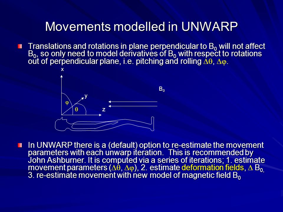 Movements modelled in UNWARP