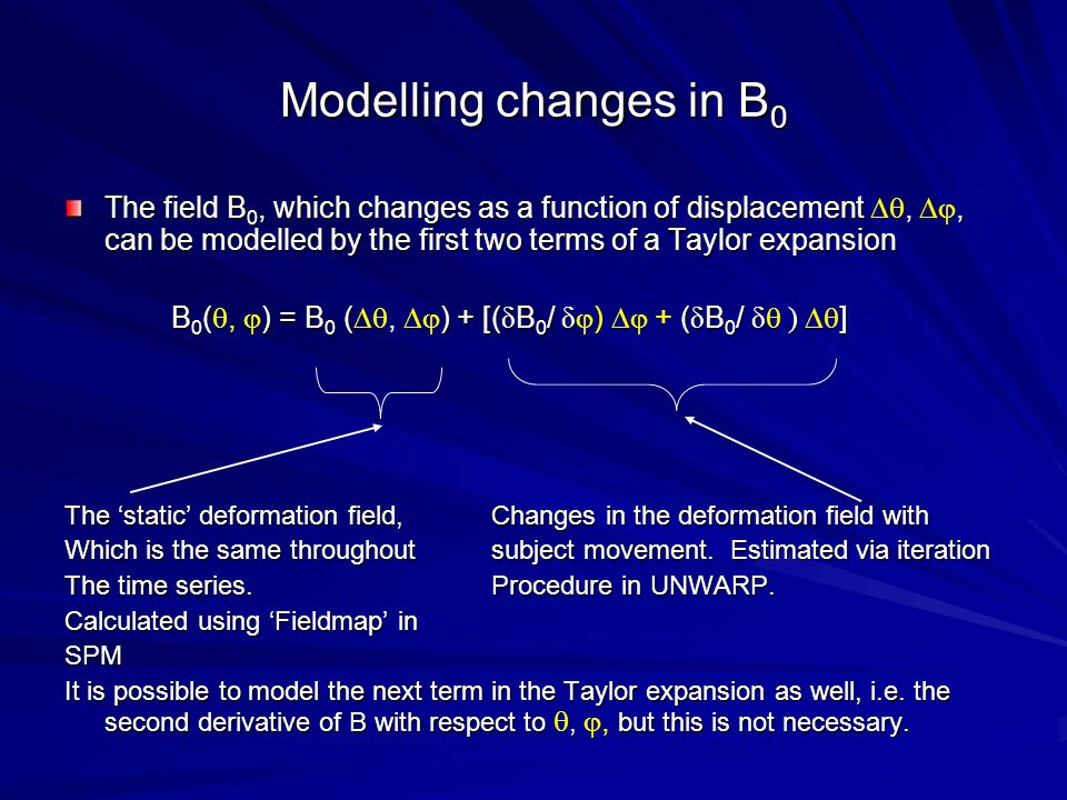 Modelling changes in B0