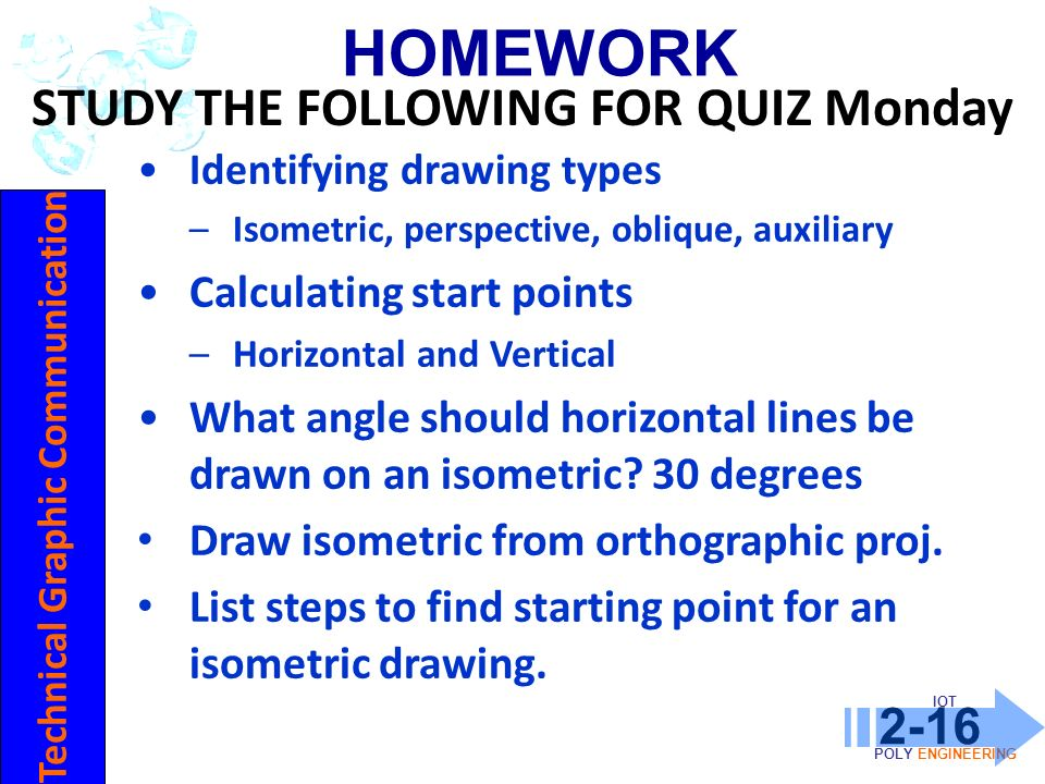 STUDY THE FOLLOWING FOR QUIZ Monday Technical Graphic Communication