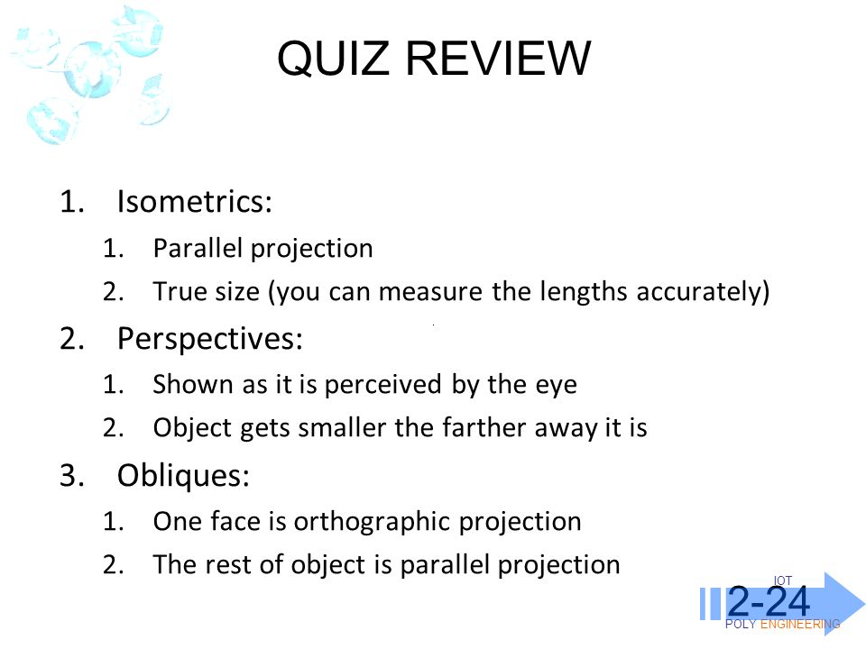 QUIZ REVIEW 2-24 Isometrics: Perspectives: Obliques: