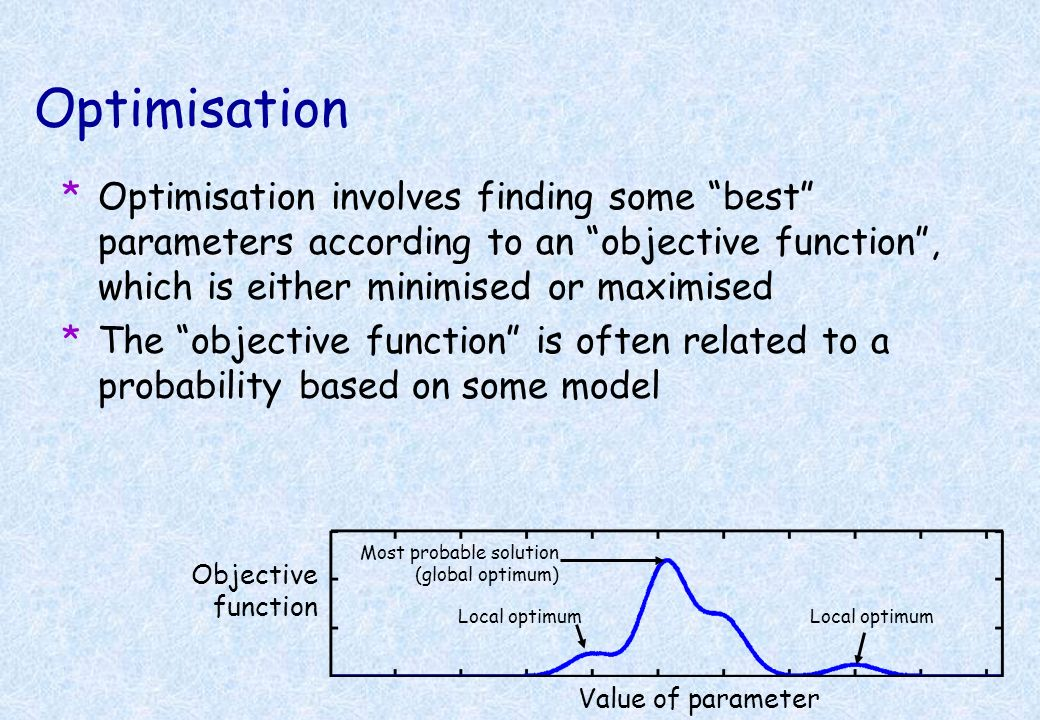 Optimisation Optimisation involves finding some best parameters according to an objective function , which is either minimised or maximised.