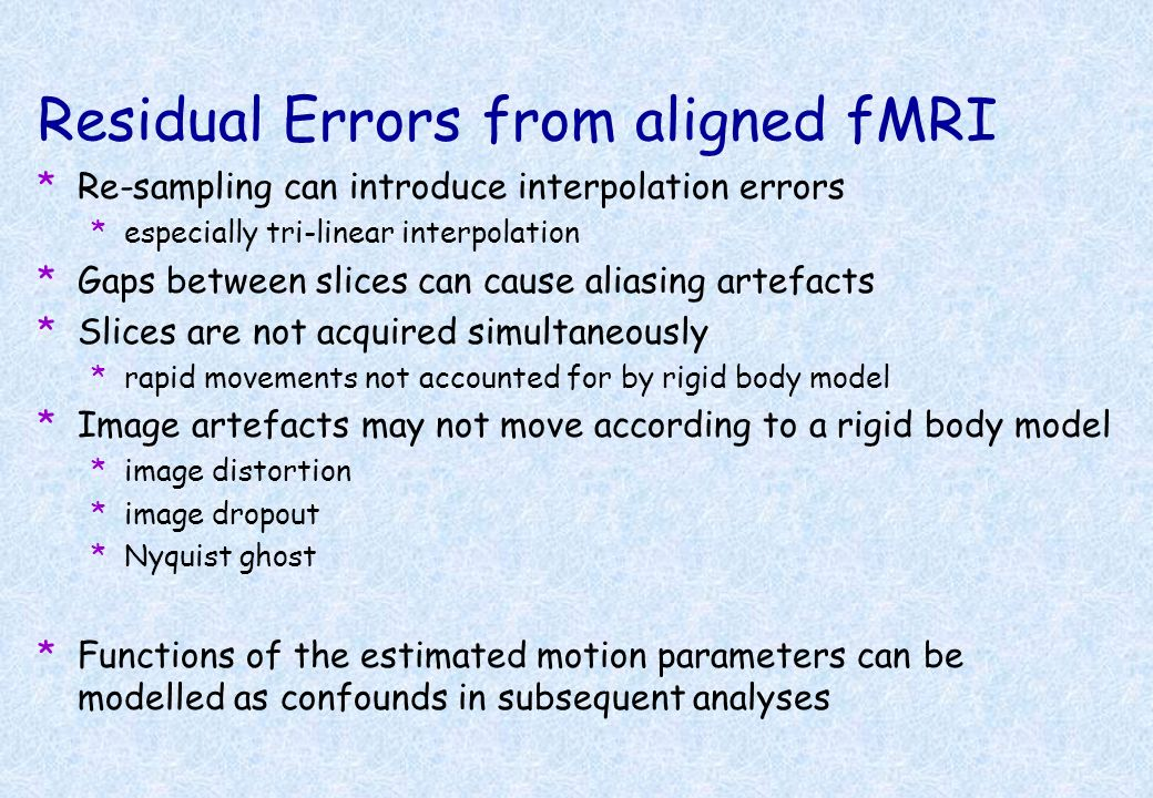 Residual Errors from aligned fMRI