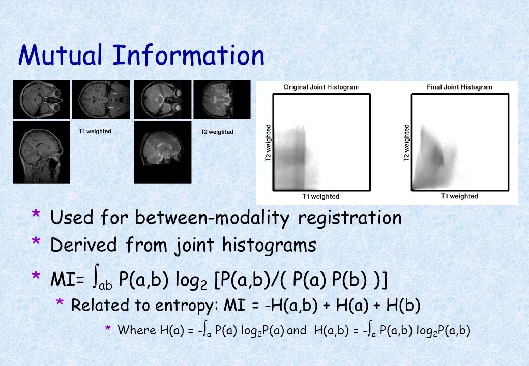 Mutual Information Used for between-modality registration