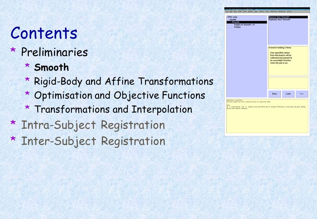 Contents Preliminaries Intra-Subject Registration