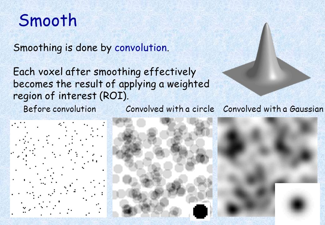 Smooth Smoothing is done by convolution.