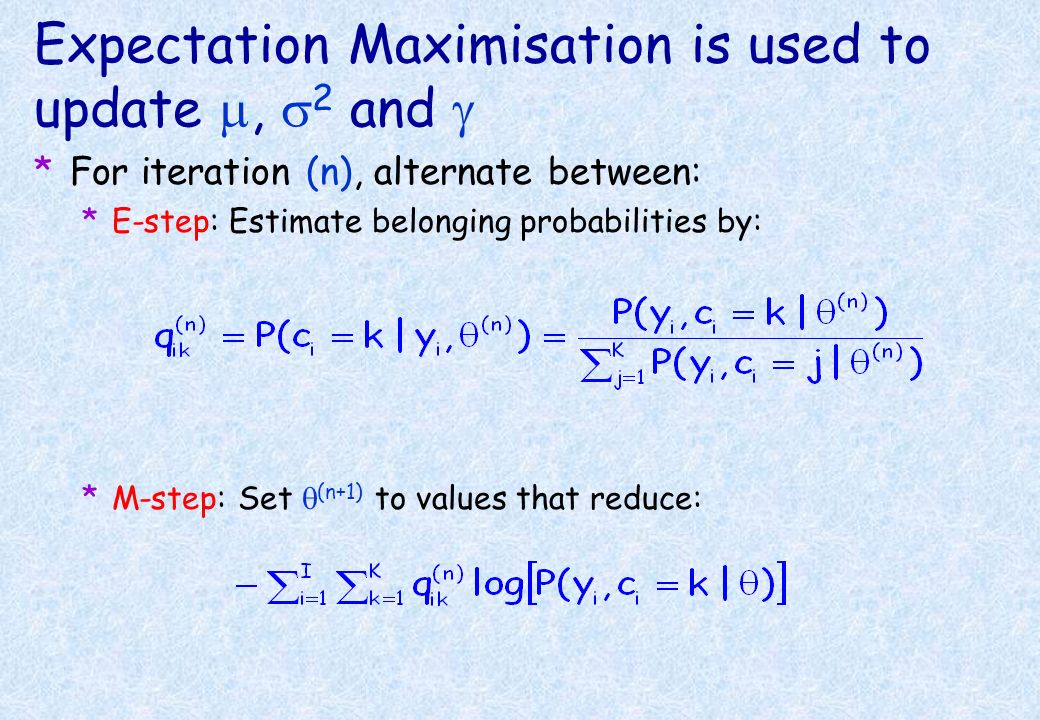 Expectation Maximisation is used to update m, s2 and g