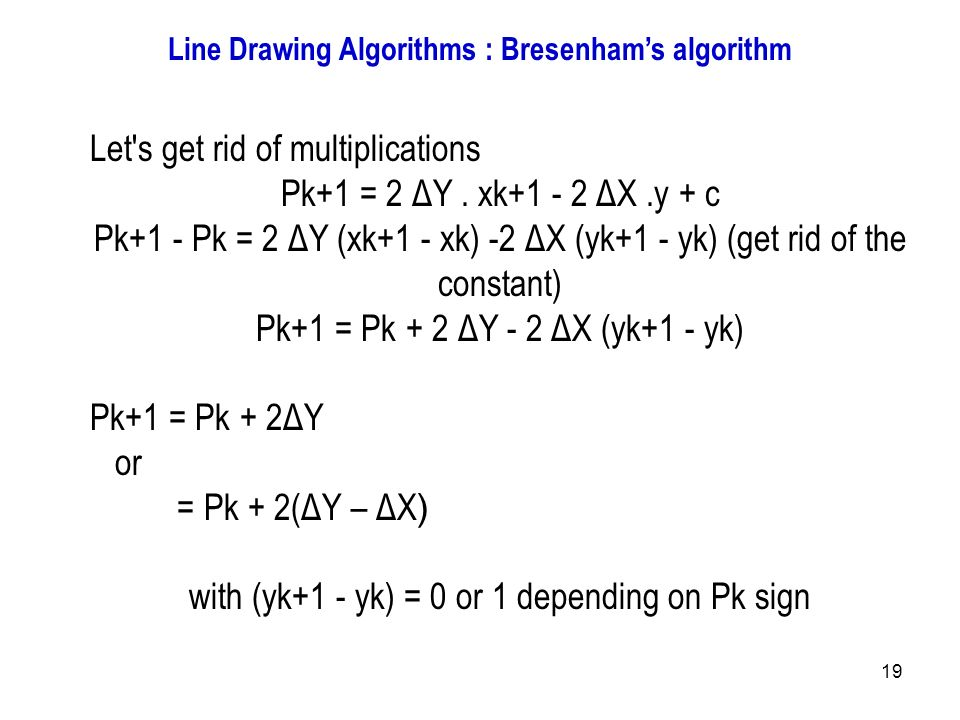 Bresenham Line Drawing Algorithm Example : Introduction to computer graphics ppt output