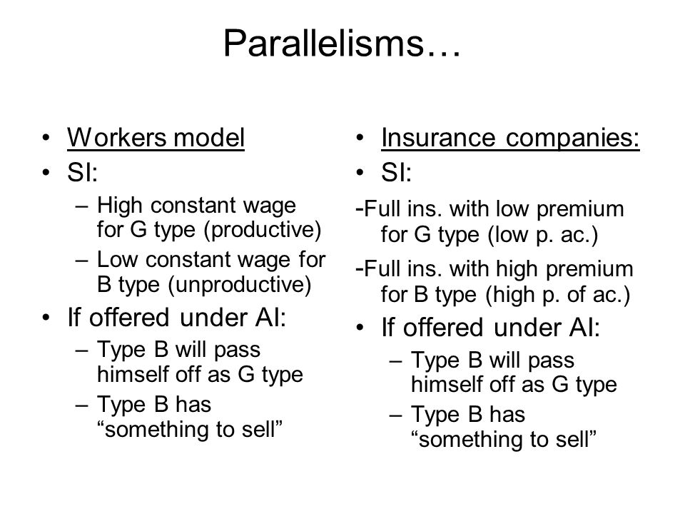 Parallelisms… Workers model SI: If offered under AI: