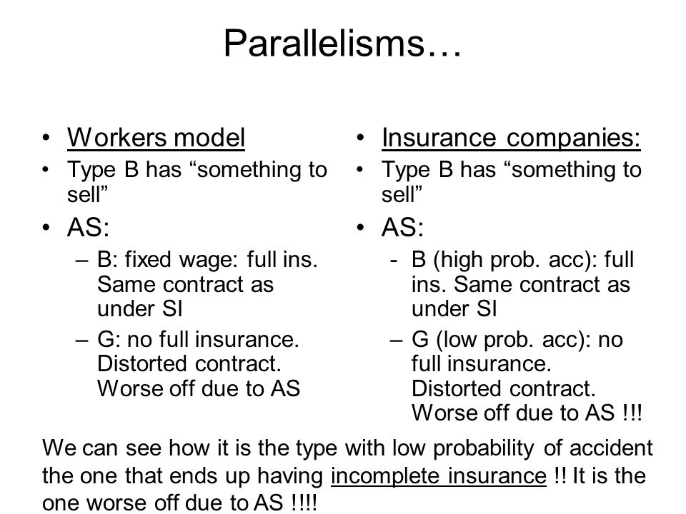 Parallelisms… Workers model AS: Insurance companies: AS:
