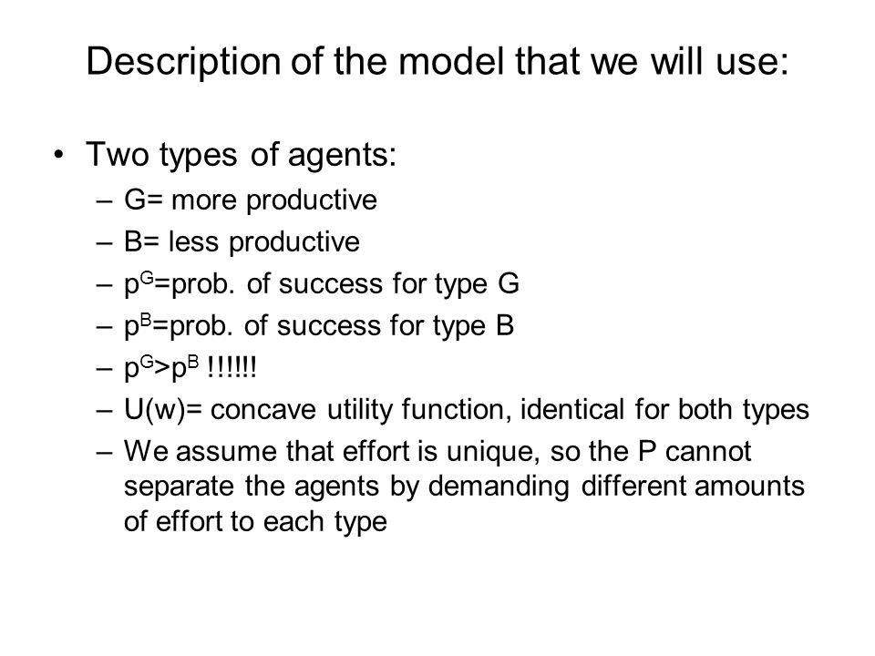 Description of the model that we will use: