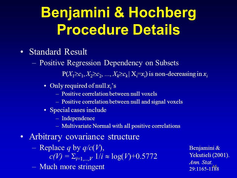 Benjamini & Hochberg Procedure Details