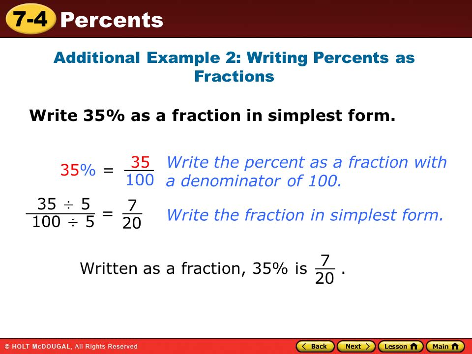 writing fractions as percents Basic arithmetic skill writing percents as fractions write each as a fraction 1) 66 2 3 % 2) 1 1 5 % 3) 30% 4) 50% 5) 75% 6) 96% 7) 199% 8) 760.