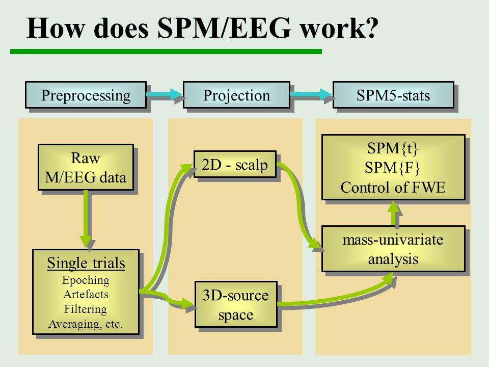 How does SPM/EEG work Preprocessing Projection SPM5-stats SPM{t}