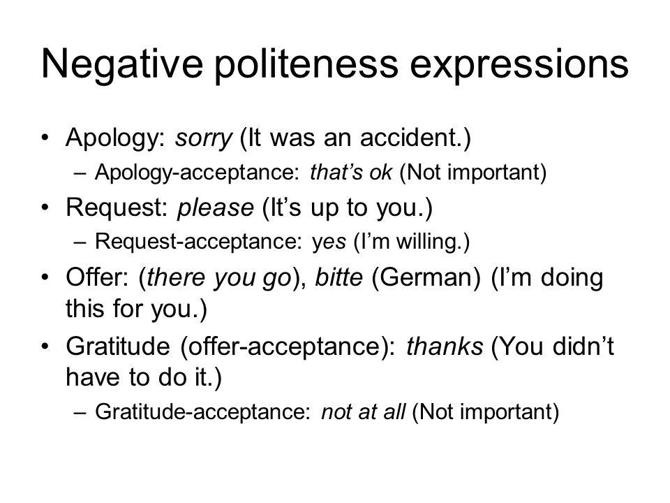 Negative politeness expressions