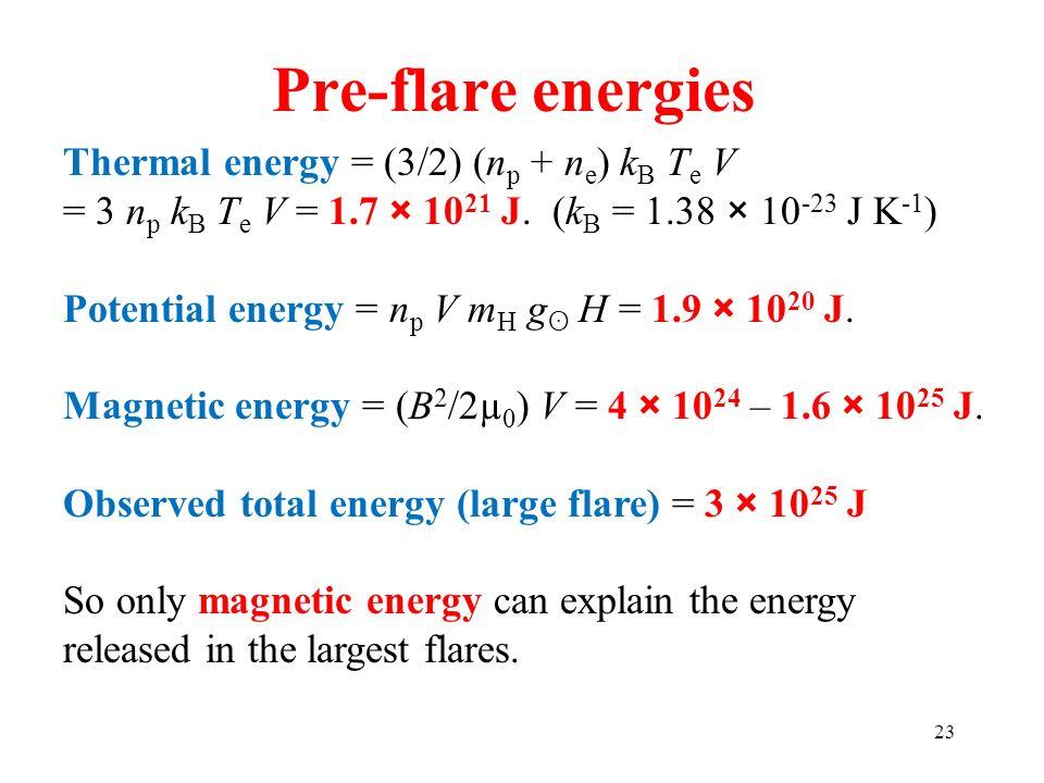 Pre-flare energies Thermal energy = (3/2) (np + ne) kB Te V