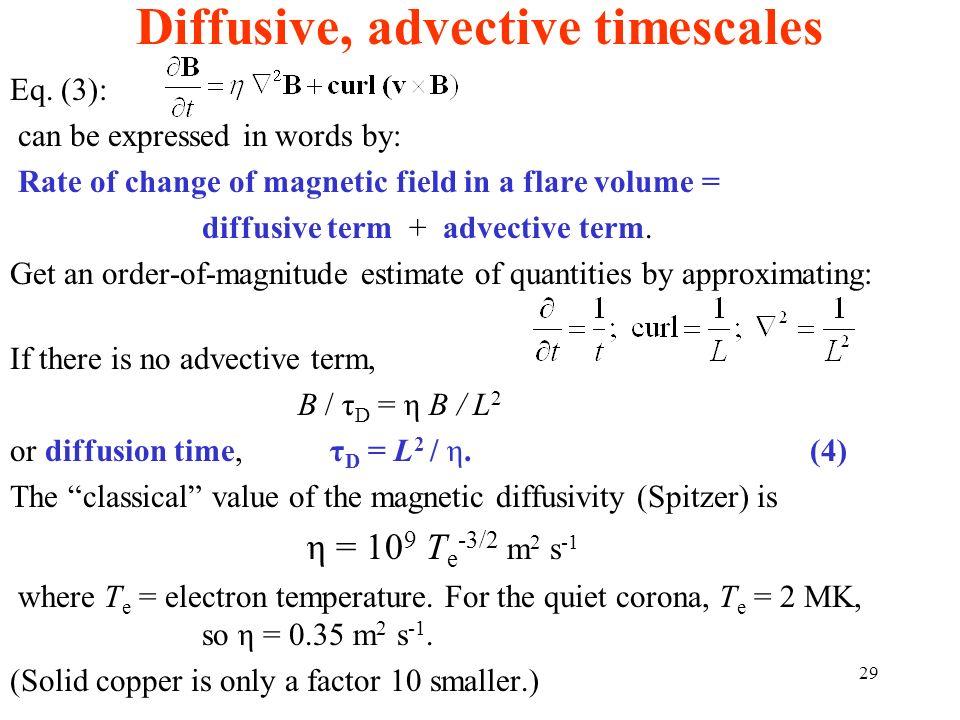 Diffusive, advective timescales