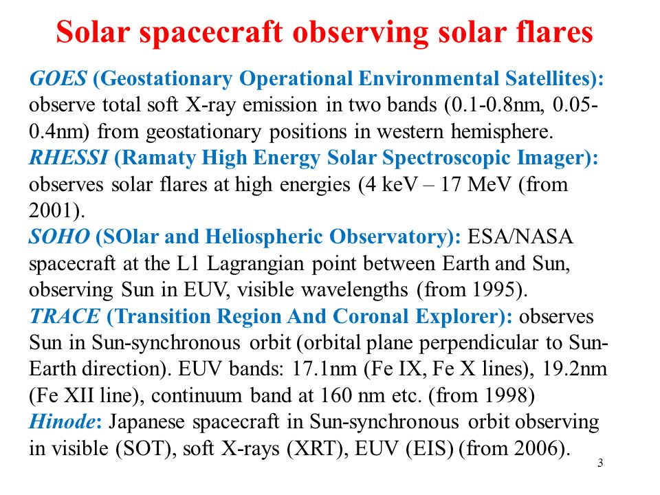 Solar spacecraft observing solar flares