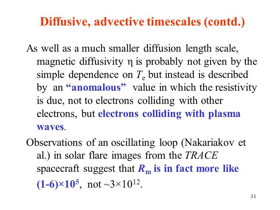 Diffusive, advective timescales (contd.)