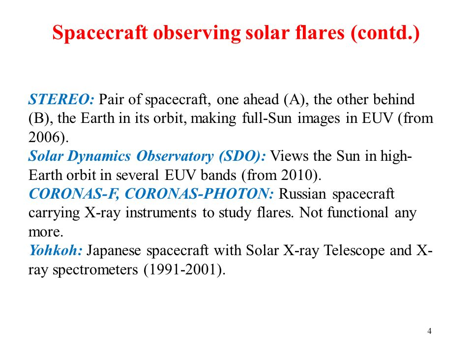 Spacecraft observing solar flares (contd.)