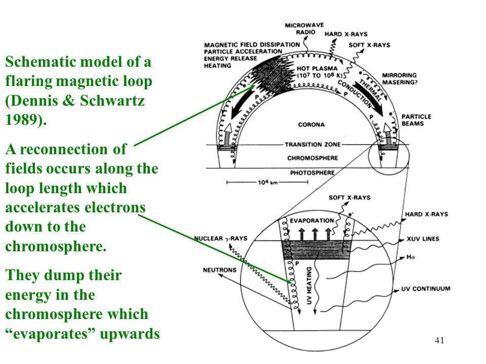 Schematic model of a flaring magnetic loop (Dennis & Schwartz 1989).