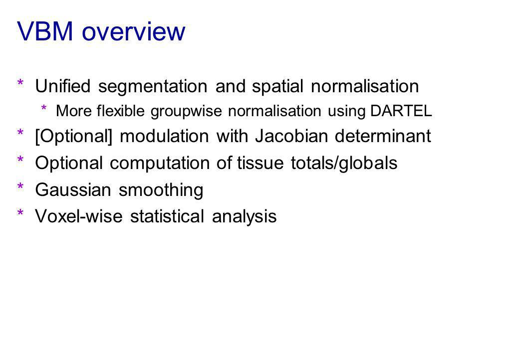 VBM overview Unified segmentation and spatial normalisation
